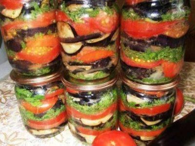 Вкуснейшие консервированные баклажаны с помидорами