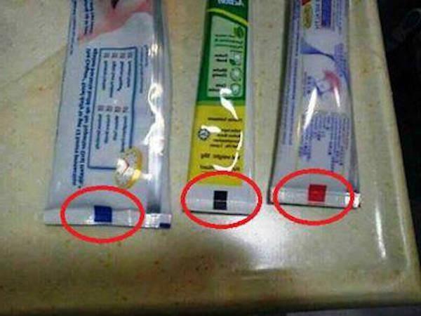 Разные полоски на тюбиках зубной пасты