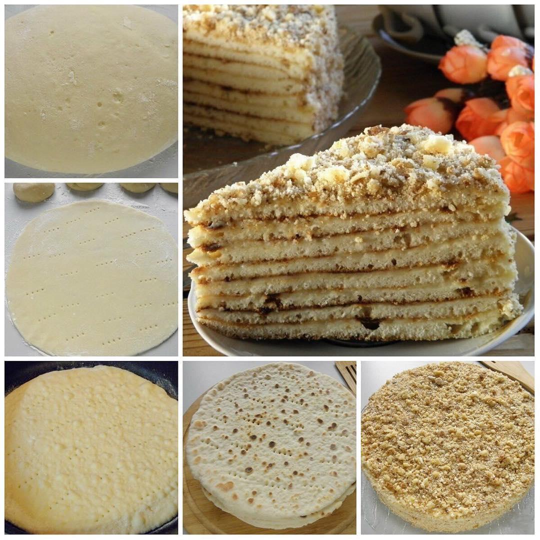 Быстрый торт на сковороде со сгущенкой Каждый кусочек просто тает во рту