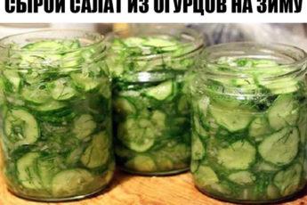 Сырой салат из огурцов на зиму заинтересует тех, кто любит похрустеть свежими овощами.