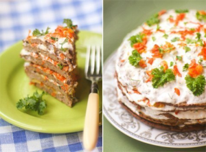 печёночный торт со сметанным соусом фото