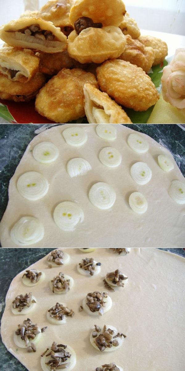 Пышки с луком и грибочками