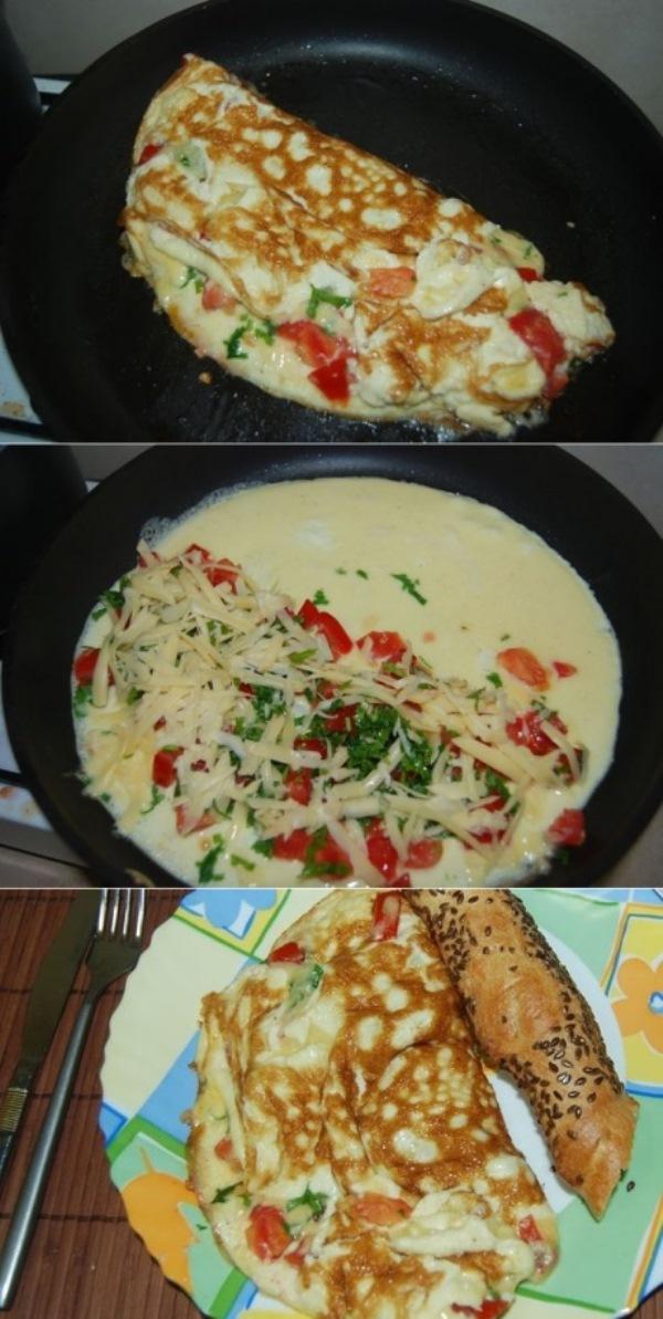 Омлет по-турецки готовится быстро и так же быстро съедается.