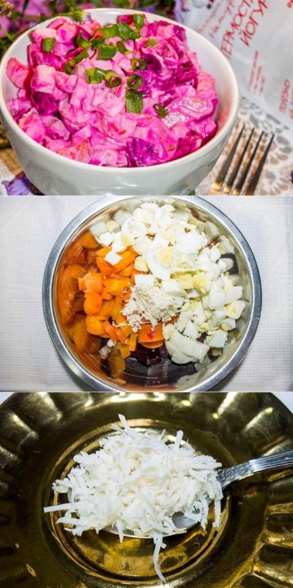 Салат «Деревенский»   Вкусный и простой салат. Заправка из натурального йогурта придает ему сочный, насыщенный вкус.