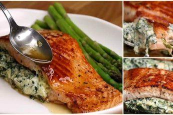 Аппетитная красная рыбка со сливочной начинкой